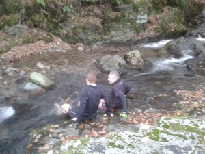 Brett and Gavin cool down in the stream