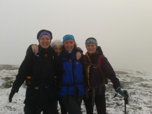 Carol, Sarah Goacher, Sarah Glover and Hilary at Dale Head summit