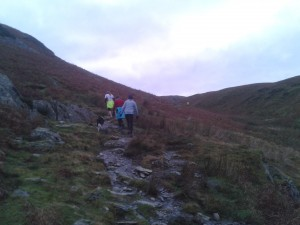 Sunday morning, climbing up in Rannerdale