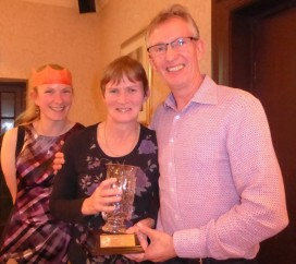 Ladies' Champion - Hilary Coventry, centre, with club secretary Fran Jeffery and  club chairman Rob Burn