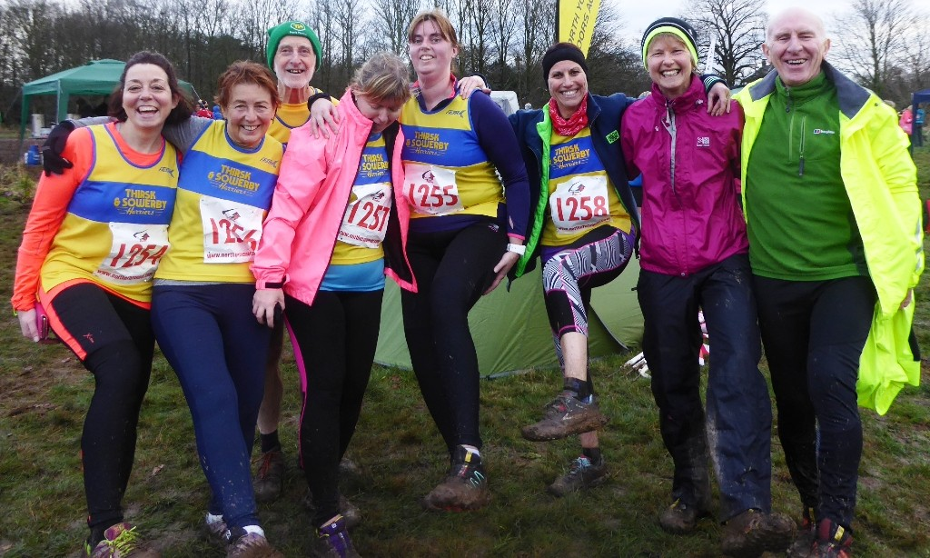 Members cheerful after the race in spite of all the mud at the Ormesby Hall cross country event. L to R - Alison Butcher, Gillian Crane, Ian Codling, Tracy Hayden, Liz Stephenson, Tracey Lowther, Nicola Booth, Ian Crane