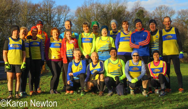 Harriers gathered before the Preston Park 5k Trail Race  (Photo courtesy Karen Newton) L to R -  Paul Atkinson, Lorraine Hiles, Sonja van der Westhuisen, Paul v.d.W, Gillian Crane, Steve Booth, Abbie Waters, Nicola Booth, Ian Codling, Marian Codling, Jane Cummins, Liz Stephenson, Marc Davies, Drikus v.d.W, Mike Lowther              Kneeling - Stuart Waters, Peter Richardson, Andy Butcher, Bav Davies, Tracey Lowther