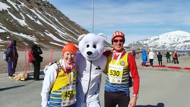 Christine and Rob Burn with friend at the Svalbard 10k near the Arctic Circle