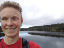 Fran Jeffery at Osmotherley Reservoir during her virtual Montane Lakeland 100 mile challenge